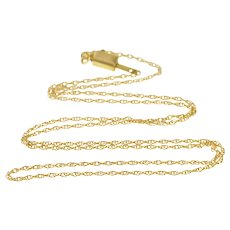 """14K 0.8mm Curb Link Spiral Twist Chain Fancy Clasp Necklace 16"""" Yellow Gold [QRXW]"""
