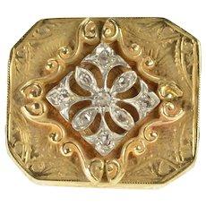 14K Antique Diamond Scroll Work Slide Bracelet Charm/Pendant Yellow Gold [CXXC]