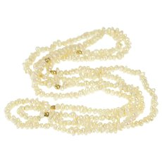 """14K Infinite Pearl Beaded Classic Opera Flapper Necklace 34"""" Yellow Gold [QRXW]"""