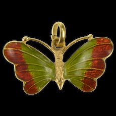 18K Butterfly Red Green Enamel Retro Pendant Yellow Gold [QRXW]