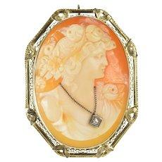 14K Diamond Necklace Cameo Victorian Filigree Pendant/Pin White Gold [QRXW]