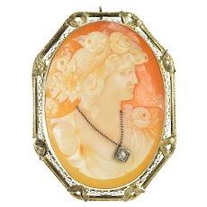 14K Diamond Necklace Cameo Victorian Filigree Pendant/Pin White Gold [CXXQ]