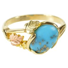 10K Oval Turquoise Black Hills Leaf Statement Ring Size 8 Yellow Gold [QRXW]