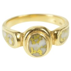14K Marbled White Quartz Inlay Oval Statement Ring Size 7.25 Yellow Gold [QRXW]