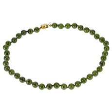 "14K 8.1mm Nephrite Jade Strand Chinese Necklace 24.75"" Yellow Gold [QRXR]"