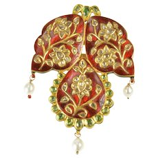 14K Ornate Diamond Encrusted Red Enamel Emerald Pin/Brooch Yellow Gold [CXXC]