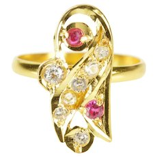 22K Ornate Syn. Ruby CZ Accent Statement Ring Size 5.75 Yellow Gold [QRQX]