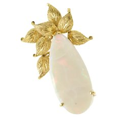 14K Pear Huge Natural Opal Leaf Cluster Statement Pin/Brooch Yellow Gold [CXXQ]