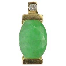 10K Oval Emerald Diamond Accent Pressure Set Pendant Yellow Gold [CXXQ]