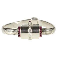 Art Deco Movado 1.00 Ctw Diamond Ruby Women's Watch [QRQQ]