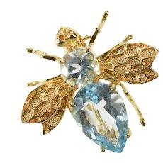14K Ornate Blue Topaz Bumble Honey Bee 3D Pin/Brooch Yellow Gold [CXXF]