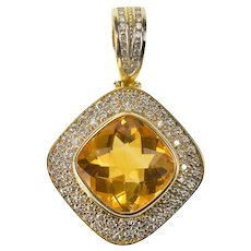 14K 6.64 Ctw Citrine Pave Diamond Halo Statement Pendant Yellow Gold [CXXQ]