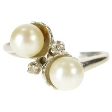 10K Retro Two Pearl Diamond Accent Bypass Ring Size 5.75 White Gold [QRQQ]