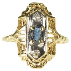 10K Filigree Sapphire Diamond Accent Elegant Dinner Ring Size 5 Yellow Gold [CXXQ]