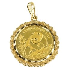14K 1990 1/4 Oz Chinese Panda Coin Rope Trim Pendant Yellow Gold [CXXQ]