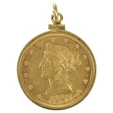 K 1897 $10 Eagle Coin Liberty Head Pendant  Gold [CXXQ]