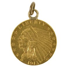 K 1913 Indian Head $2.50 Coin Charm/Pendant Yellow Gold [QRQQ]