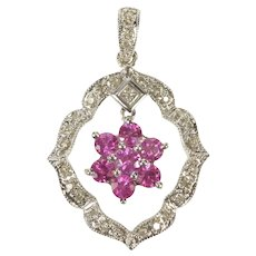 18K Pink Sapphire Flower Cluster Scalloped Diamond Pendant White Gold [QRQQ]