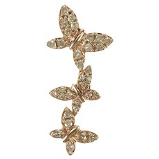 10K Tiered Pave Diamond Encrusted Butterfly Pendant Yellow Gold [QRQQ]