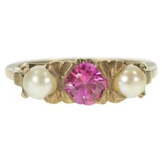 10K Pear Pearl Syn. Pink Sapphire Retro Statement Ring Size 6 Yellow Gold [CXXQ]