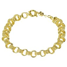 "18K 9.1mm Thick Retro Layered Look Rolo Chain Bracelet 9.25"" Yellow Gold [CXXQ]"