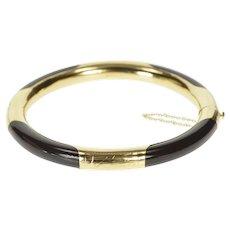 "14K Ornate Black Onyx Etched Retro Bangle Bracelet 7.5"" Yellow Gold [CXXQ]"