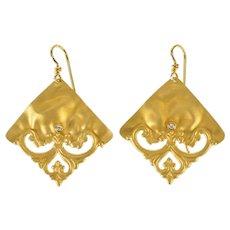 14K Diamond Satin Finish Scroll Square Dangle Earrings Yellow Gold [QRQC]