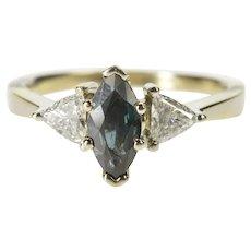 14K 1.25 Ctw Sapphire Diamond Engagement Ring Size 8 White Gold [QRQC]