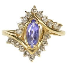 14K 1.15 Ctw Tanzanite Diamond Bypass Engagement Ring Size 8 Yellow Gold [CXXF]