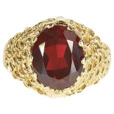 14K Oval Syn. Garnet Graduated Ornate Statement Ring Size 5.75 Yellow Gold [QRQC]