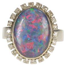 14K Oval Syn. Black Opal Diamond Halo Statement Ring Size 8 White Gold [CXXQ]