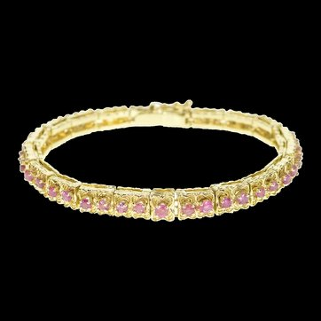 14K Retro Floral Link Ruby Encrusted Statement Bracelet Size 7 Yellow Gold [QRQC]