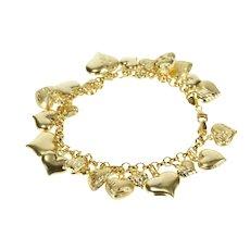 """14K Heart Covered Fringe Charm Love Anniversary Bracelet 7.5"""" Yellow Gold [QRXW]"""