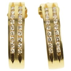 14K Diamond Channel Curved Bar Semi Hoop Earrings Yellow Gold [QRXW]