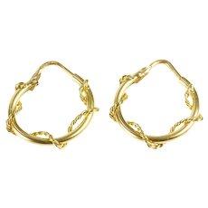 18K Rope Twist Pattern Nautical Unique Hoop Earrings Yellow Gold [CXXF]