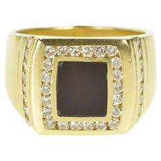 14K Black Onyx Diamond Halo Statement Men's Ring Size 11.25 Yellow Gold [CXXQ]