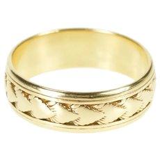 14K 1930's Leaf Pattern Ornate Men's Wedding Band Ring Size 12.5 Yellow Gold [CXXQ]