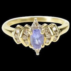 10K Oval Amethyst Diamond Accent Engagement Ring Size 7 Yellow Gold [CXXQ]