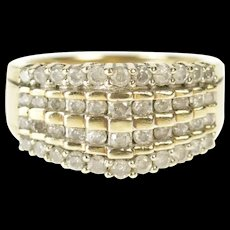 10K Tiered Diamond Graduated Statement Band Ring Size 7.25 Yellow Gold [CXXQ]