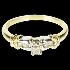 10K Two Tone Diamond Criss Cross Promise Ring Size 9.25 Yellow Gold [CXXQ]