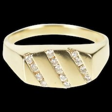 10K Men's Diamond Striped Channel Wedding Band Ring Size 12.75 Yellow Gold [CXXQ]