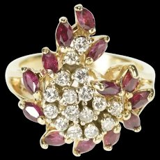14K Marquise Ruby Diamond Swirl Cocktail Cluster Ring Size 6.75 Yellow Gold [CXXQ]