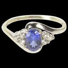 10K Oval Syn. Sapphire Cubic Zirconia Cluster Accent Ring Size 8 White Gold [CXXQ]