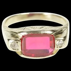 14K Art Deco Etched Syn. Ruby Diamond Accent Ring Size 8 White Gold [CXXQ]