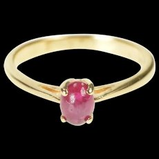 14K Natural Ruby Solitaire Cabochon Engagement Ring Size 5.75 Yellow Gold [CXXQ]