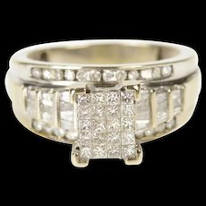 10K 1.64 Ctw Princess Cluster Diamond Engagement Ring Size 7.75 White Gold [CXXQ]