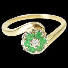 14K Emerald Diamond Floral Cluster Engagement Ring Size 7.5 Yellow Gold [CXXQ]