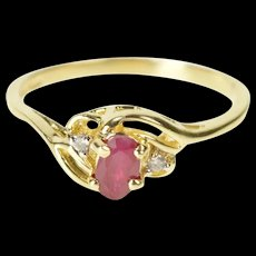 10K Oval Ruby Diamond Accent Wavy Bypass Ring Size 6 Yellow Gold [CXXQ]