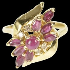 14K Marquise Ruby Diamond Bypass Cluster Cocktail Ring Size 4.75 Yellow Gold [CXXQ]