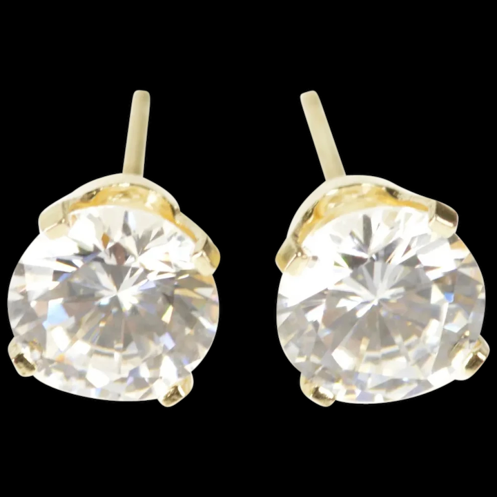 14k Round Clic Solitaire G Cz Stud Earrings Yellow Gold Qrxw